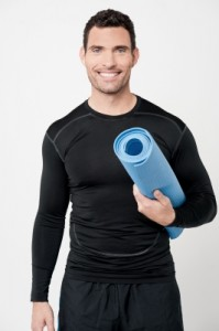 man with yoga mat