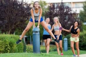 teen girls playing