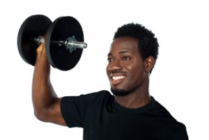 black weight lifting